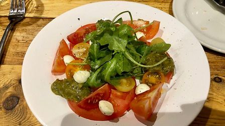 Mark's heritage tomato with homedmade mozzarella salad at the Foragers Retreat