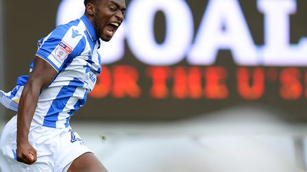 Kane Vincent-Young celebrates scoring against Forest Green Rovers. Photo: Pagepix