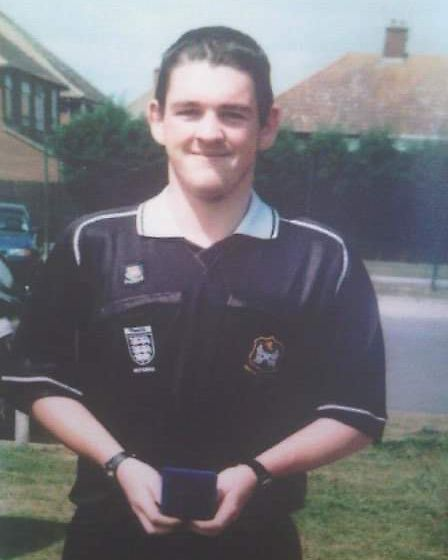 Daniel Mason is pictured in his new referee's kit in April 2007. Photo courtesy of Suffolk FA