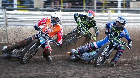 Former world champion Jason Doyle leading Cameron Heeps and Chris Harris in the opening heat of the
