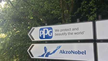 Signs leading to the PPG and AkzoNobel paint factories, Stowmarket. Union members at the AkzoNobel