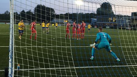 AFC Sudbury's Joe Whight curls this free-kick narrowly wide of target, as the hosts threaten against