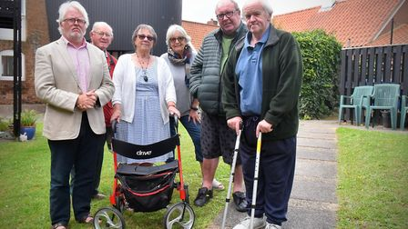 Woodbridge mayor Eamonn O'�Nolan, pictured left, with residents of Mussidan Place, Woodbridge Pictur