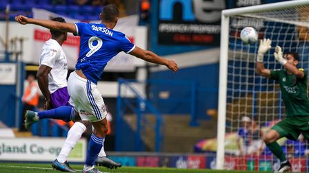 Kayden Jackson fires Ipswich into an early 1-0 lead against Shrewsbury on Saturday. Picture: Stev