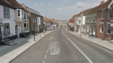 North Hill in Colchester was closed by police after a woman was hit by a van Picture: GOOGLEMAPS