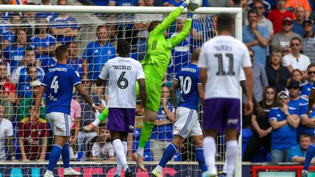 Tomas Holy makes a save late in the first half of the Ipswich Town v Shrewsbury Town (Sky Bet league
