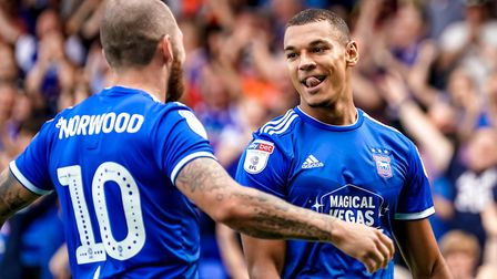 Kayden Jackson is congratulated by James Norwood, after his early goal put Ipswich into a 1-0 lead.