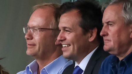Plenty to smile about for Town owner Marcus Evans (left) and general manager of football operations,