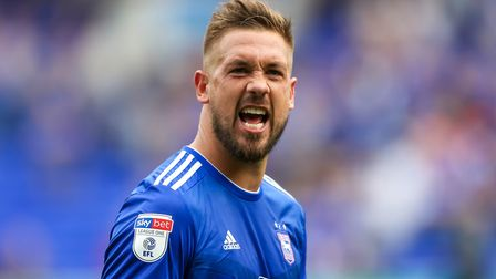Luke Chambers, celebrates after the final whistle following Ipswich Town's 3-0 victory over Shrewsbu