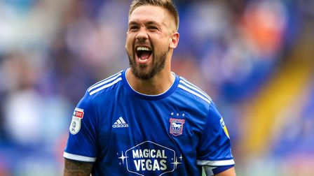 Luke Chambers screams as he celebrates at the final whistle following Ipswich Town's 3-0 victory ove