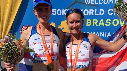 The top two: Suffolk's Helen Davies, left, with champion Alyson Dixon at the 50K World Championships