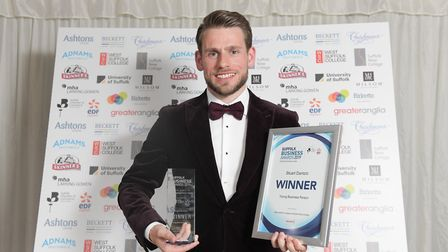 Stuart Dantzic after being named Young Business Person of the Year at the Suffolk Business Awards ea