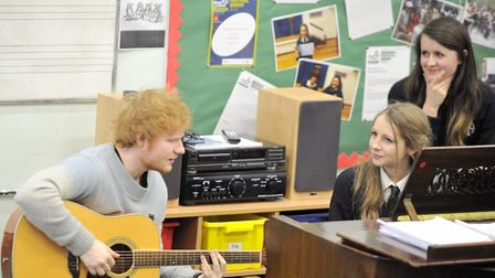 Ed Sheeran inspiring young musicians at Thomas Mills in 2014 Picture: SU ANDERSON