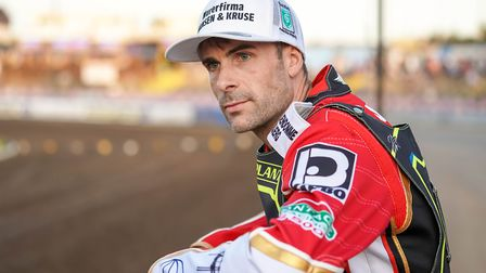 New signing Niels-Kristian Iversen checks out the Foxhall circuit ahead of the Ipswich v Poole meeti