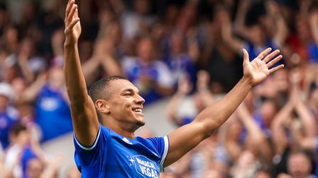 Kayden Jackson salutes the crowd after scoring during Ipswich Town's 3-0 win over Shrewsbury. Pictur