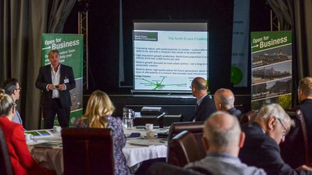 Group MD of NECG Ltd Richard Bayley talks about North Essex Garden Communities at a business breakf