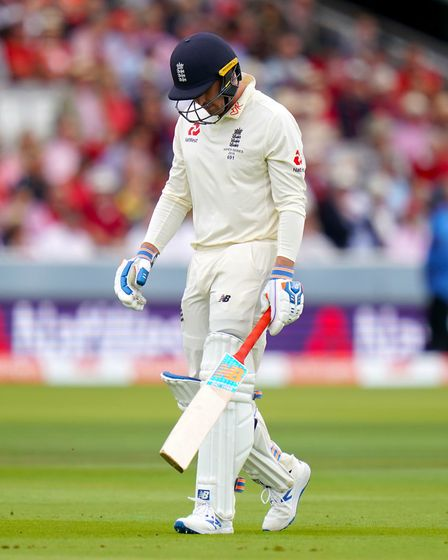 England's Jason Roy after being dismissed during day two of the Ashes Test match at Lord's. Picture: