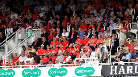 Spectators wear red in the stands in aid of the Ruth Strauss Foundation during day two of the Ashes