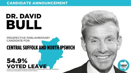 Dr David Bull is standing for the Brexit Party in Central Suffolk and North Ipswich. Picture: BREXIT