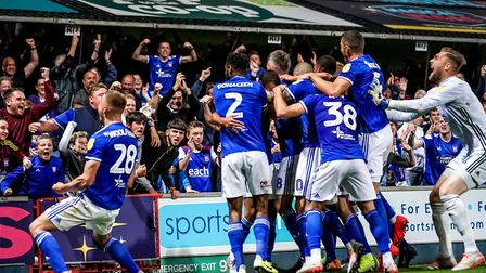 Town fans and players celebrate Kayden Jackson's late winner against Wimbledon. Picture: STEVE WA