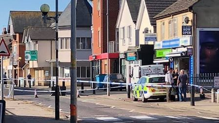 The scene of the serious assault in Clacton, in the early hours of this morning. Picture: NATASHA BA