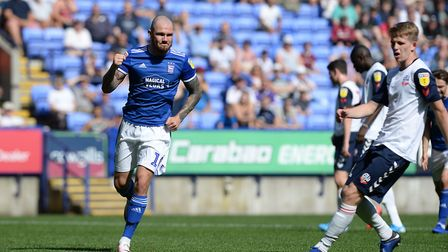 James Norwood celebrates his penalty conversion in the 5-0 win at Bolton. Photo: Pagepix