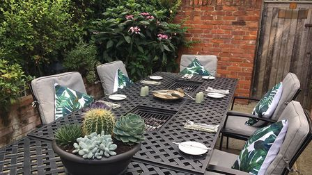 The new walled private dining garden at The Bildeston Crown where you can cook your own meal Pictur