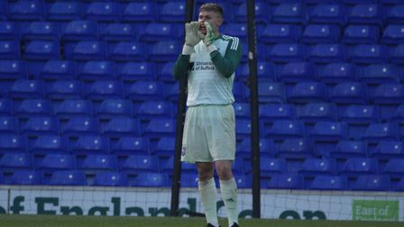 Harry Wright giving out his orders during Town U23s 3-0 defeat to Birmingham at Portman Road Picture