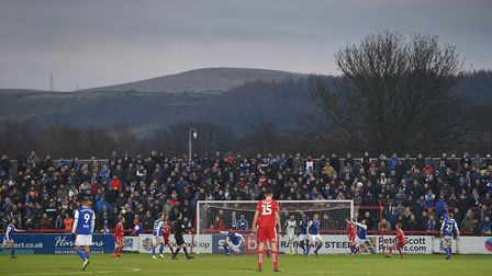 Ipswich Town fans pictured in the away end at Accrington Stanley last season. Photo: Pagepix