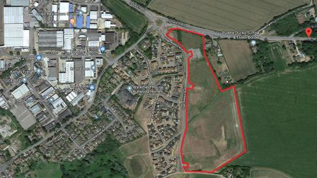The land south of Ipswich Road in Hadleigh Persimmon plans to develop with 172 homes and employment