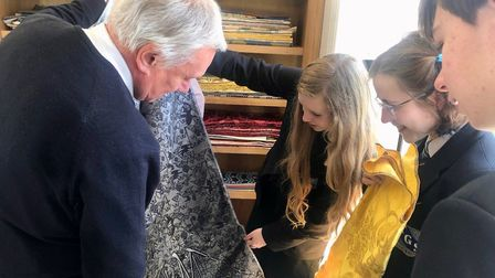 Children from Thomas Gainsborough School pupils visiting the Humphries Weaving Company in Sudbury Pi