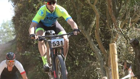 Newmarket rider Matthew Smith flies towards second place in the V40-49s at the Phoenix Bikes MTB, ne