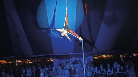 One of the many circus performances at Maui Waui Festival which offers a unique blend of music, circ