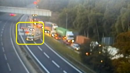 The A14 was closed this morning following a broken down vehicle. Picture: HIGHWAYS ENGLAND
