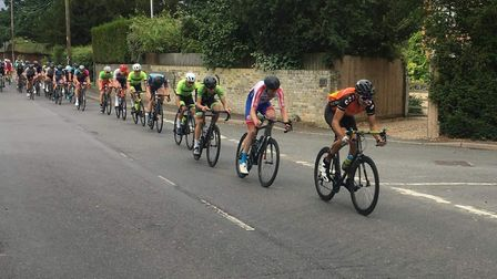 Leon West heads a string of riders in the CC Sudbury Len Finch Memorial Race Picture: CC SUDBURY
