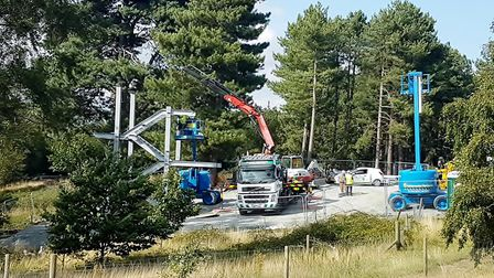 Work is well underway on the new Sutton Hoo viewpoint. Picture; PAUL GEATER