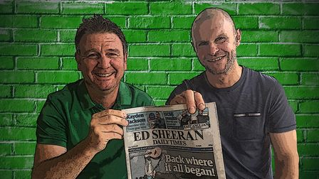 Danny Laws and Trevor Newman, pictured with the Ed Sheeran Daily Times, a special tribute to the Fra