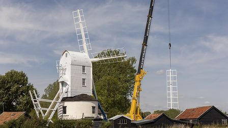 Sails go back on at Saxtead Green Post Mill Picture: JUSTIN MINNS
