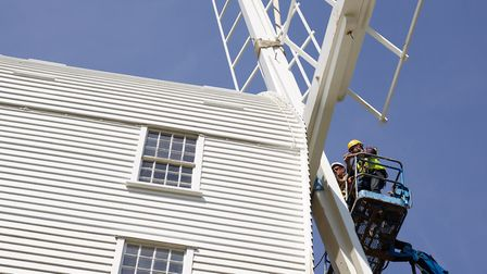Sails go back on at Saxtead Green Post Mill Picture: CHRIS RIDLEY