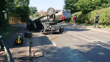 A car ended up on its roof this morning Picture: LEO HAYMAN