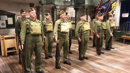 The Khaki Chums ready for action during the filming of the lost Dad's Army episodes. Picture: KHAKI