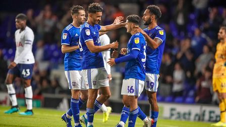 Town players celebrate Jordan Roberts second goal to give them a 2-1 lead in the victory against Spu
