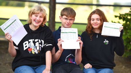 Left to right: Emily Martin, Lucas Measures and Nicole Foreman celebrate their top GCSE grades at Ix