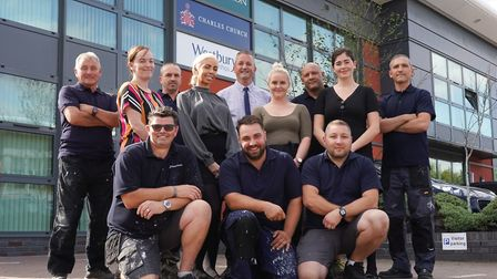The Persimmon Homes Suffolk customer care team with manager Hollie Betteridge (back row, second righ