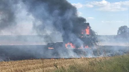 The combine harvester was left gutted by the fire Picture: FAYE LENEY