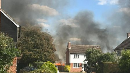 Large plumes of smoke were spotted locally Picture: FAYE LENEY