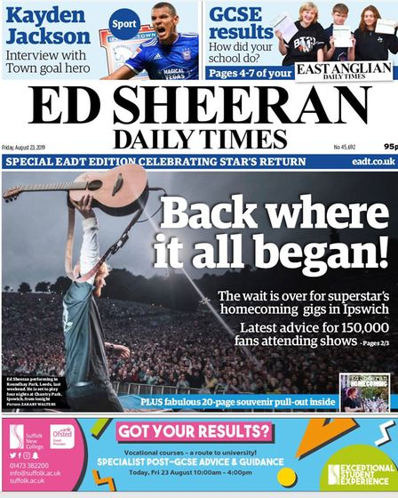The East Anglian Daily Times has changed it's name for one day only in celebration of Ed Sheeran's