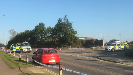 Police cordoned off the scene of the accident in Gun Cotton Way, Stowmarket Picture: Mark Langford