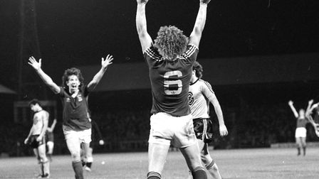 Kevin Beattie after scoring as Town drew 1-1 with Swiss side Grasshoopers Zurich in 1979 Picture: AR