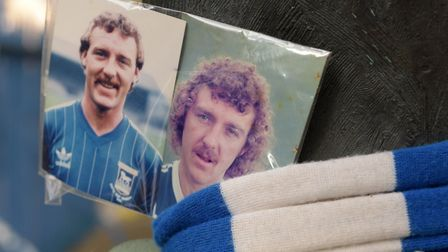 Old photographs of Kevin Beattie were placed at the statue of Sir Bobby Robson after his sudden deat
